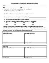 qualitative and quantitative observations worksheet free