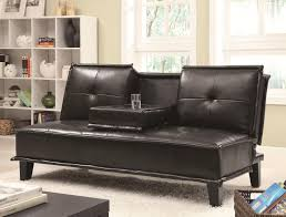 contemporary black vinyl sofa bed with drop down table big city
