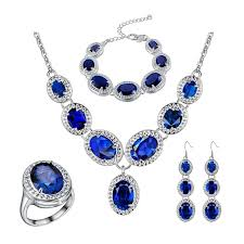 jewelry blue sapphire necklace images Women 39 s party wedding jewelry set bridal jewelry sets women jpg