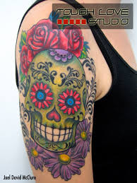 sugar skull on shoulder photos pictures and sketches