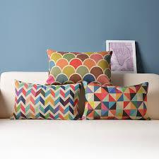 Home Decor Cushions Decorative Throw Pillow Cushion Cover Geometric Lumbar Colorful