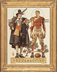 thanksgiving 300 years pilgrim and football player the saturday