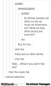 Funny Tumblr Memes - the british only drink tea funny tumblr conversation pmslweb