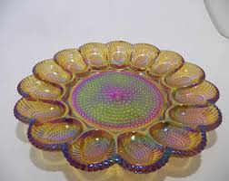 carnival glass egg plate glass egg tray etsy