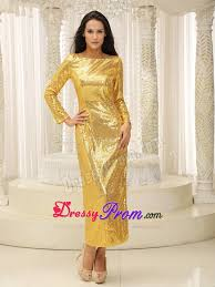 bateau gold prom bridesmaid dresses with long sleeves