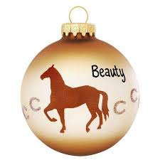 personalized with horseshoes glass ornament bronner s