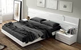 Lacquered Made In Spain Wood Modern Platform Bed With Extra - Contemporary platform bedroom sets