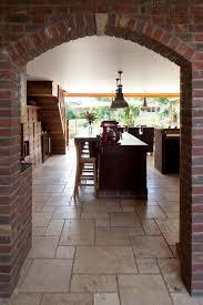 brick arch internal stone floor finish raised breakfast bar