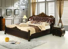2014 new design black double leather bed was made from solid wood