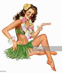 Vintage Pin Up Halloween Costumes by Retro Vintage Pinup In Hawaiian Costume Stock Illustration