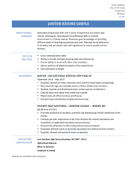 Sample Resume Format For Accounting Assistant by Shining Inspiration Janitor Resume 15 Professional Janitor Resume