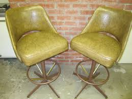 retro swivel chairs furniture vintage yellow leather swivel bar stools
