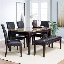 traditional 6 piece dining set with faux marble top table 4 chairs