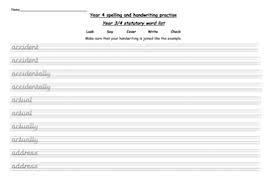year 4 statutory words handwriting practise worksheets by