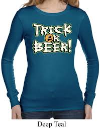 ladies halloween shirt trick or beer long sleeve thermal tee t
