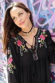flower shops in miami bohemian boho mini dress black tunic with embroidered flowers