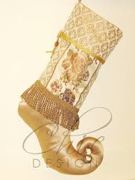 chic unique christmas stocking golden jacquard moccasin