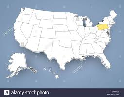 Map Of The United States With States by Pennsylvania Pa Highlighted On A Contour Map Of Usa United
