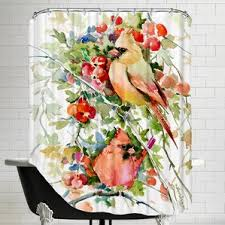 Bird Shower Curtains Red Cardinal Shower Curtains Wayfair