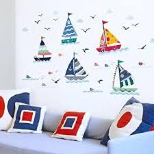 kinderzimmer maritim wandsticker4u wandtattoo segelboote set bunt effektbild