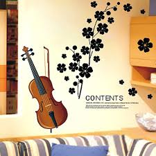 beautiful violin flowers removable wall stickers art decals sales beautiful violin flowers removable wall stickers art decals mural diy wallpaper for living room 45 65cm