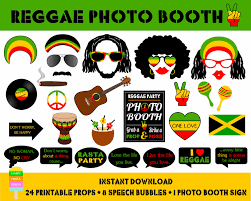 printable reggae photo booth propsjamaica travel props rasta