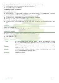 Driver Sample Resume by Sample Cv Driver Delivery