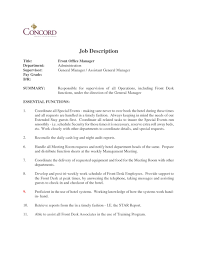 Resume Samples Hospitality Management by Manager Job Description Resume Resume For Your Job Application