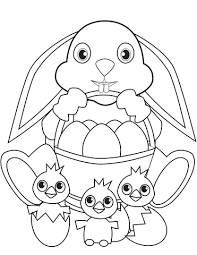 easter bunny with basket and coloring page free printable