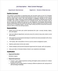 Web Content Manager Resume Ux Designer Job Description Content Manager Job Description