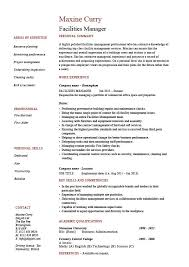 Maintenance Job Resume by Facilities Manager Resume Property Maintenance Job Description