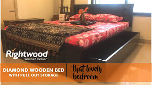 wooden bed diamond designed in solid wood by rightwood furniture