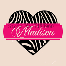 popular zebra print wall decals buy cheap zebra print wall decals e858 personalized zebra print heart custom name vinyl wall decal sticker decoration china mainland
