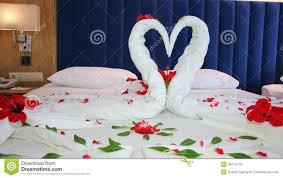 Rose Petals Room Decoration Romantic Setting With Rose Petals On Bed Stock Photo Image 69676836