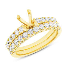 wedding set yellow gold semi mount bridal wedding set diamond engagement ring