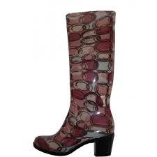 amazon com women u0027s rain boots w heel red burgundy circles