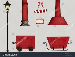 set isolated christmas object santa claus stock illustration