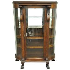 curved glass china cabinet mirror china cabinet antique tiger oak bow front curved glass and