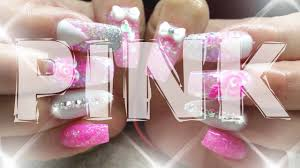 pink glitter nails pink pink pink by nail fairy acrylics youtube
