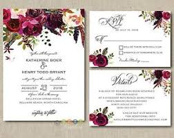 personalized wedding invitations 100 personalized wedding invitations boho burgundy maroon floral