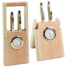 pen holder stand clock in wooden finishing table desk clock
