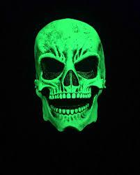 silver skull halloween mask zagone studios uv reactive green sock skull halloween mask