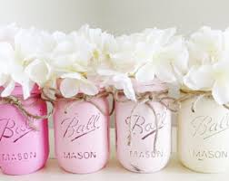 jar baby shower centerpieces pink distressed jars baby shower vase flower centerpieces
