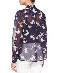 bird blouse msgm sheer bird print silk blouse