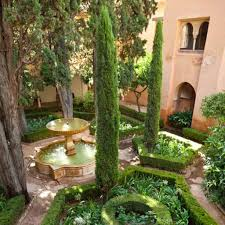 Italian Backyard Design by Amazing Garden With Large Fountain And Italian Cypress Trees