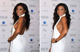 gabrielle union long glossy and curled black hair