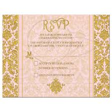 wedding reply cards blush pink gold damask wedding rsvp reply card