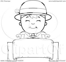 cartoon clipart of a black and white happy child leprechaun boy