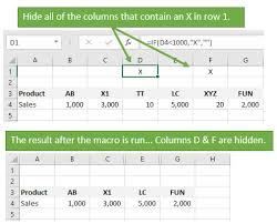vba macro to hide all columns that contain a value in a cell