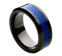 mens blue wedding bands lochi ceramic black with blue men s tungsten wedding ring by zeus